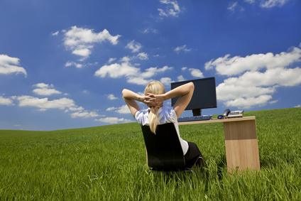 Woman Relaxing In a Virtual Green Office